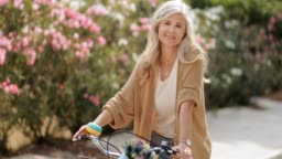 Smiling mature woman with vintage bicycle at park in spring