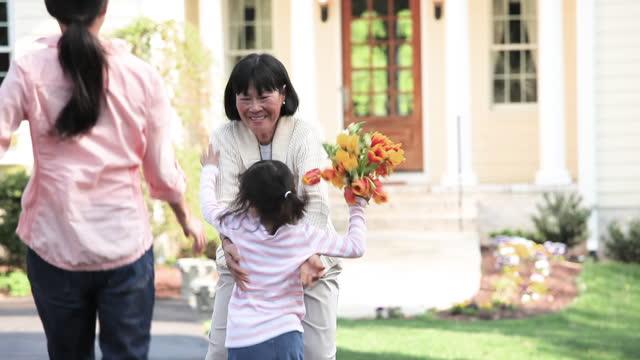 vídeos y material grabado en eventos de stock de smiling mother and daughter visiting grandma - florida estados unidos