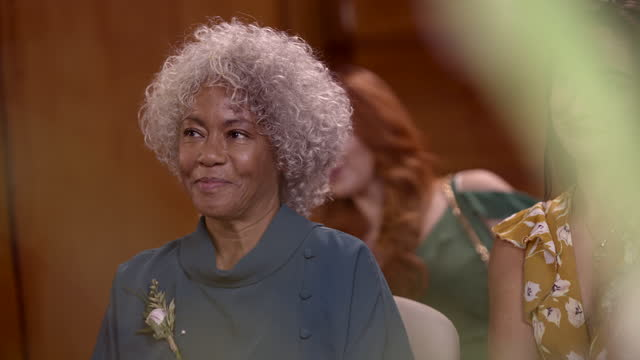smiling mother watches lesbian couple wedding ceremony - grey hair stock videos & royalty-free footage