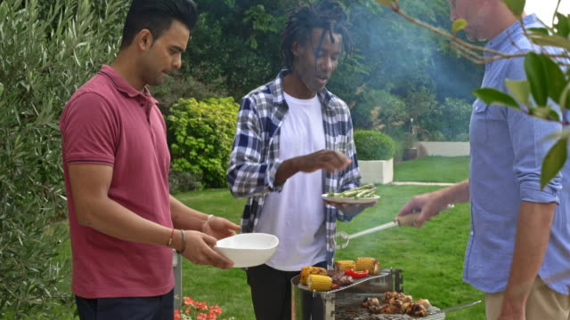 smiling multi-ethnic male friends preparing a barbecue in the back yard - male friendship stock videos and b-roll footage