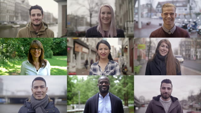 smiling people video portraits - multi ethnic group stock videos & royalty-free footage