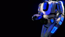 A smiling robot goes near the camera to stop and wave its arm. 4K.