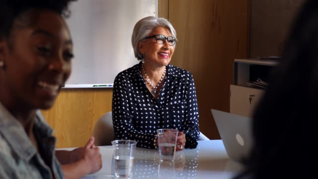 ms smiling senior female business owner listening during presentation during meeting in office conference room - authority stock videos & royalty-free footage