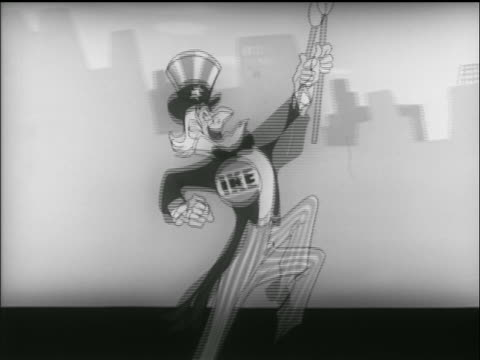 animation smiling uncle sam with ike button marches in street / tv commercial - uncle sam stock videos & royalty-free footage
