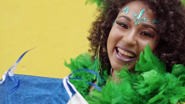 smiling woman celebrating the carnival in pernambuco, brazil - carnival stock videos & royalty-free footage
