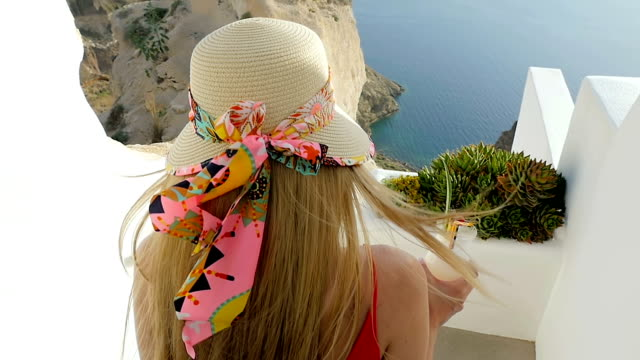 smiling woman & greek style holidays - santorini stock videos and b-roll footage