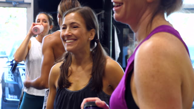 vídeos de stock, filmes e b-roll de ms smiling woman in discussion with friend after working out in gym - 40 49 anos