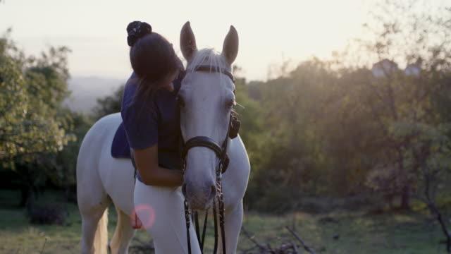 vídeos de stock, filmes e b-roll de mulher sorridente, beijando e acariciando o cavalo branco - acariciando