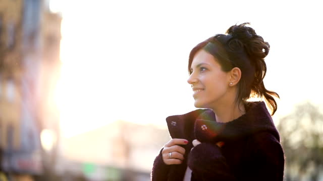 smiling woman portrait at sunset - fashionable stock videos & royalty-free footage