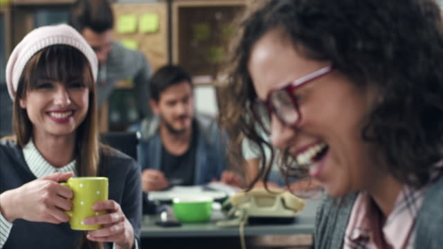 smiling women having coffee break - coffee shop stock videos & royalty-free footage