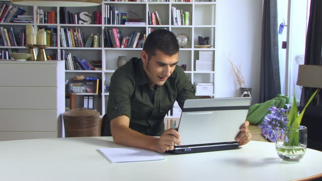 ms, smiling young man using laptop in living room - sideburn stock videos & royalty-free footage