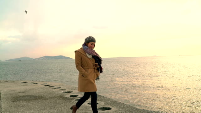 HD : Lächelnde junge Frau zu Fuß am Strand