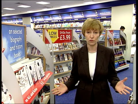 WH Smith fall in profits ITN GENERICS FROM SERVER London EXT Exterior GVs Waterstones book shop Checkout area of Tesco supermarket EXT CMS wall sign...