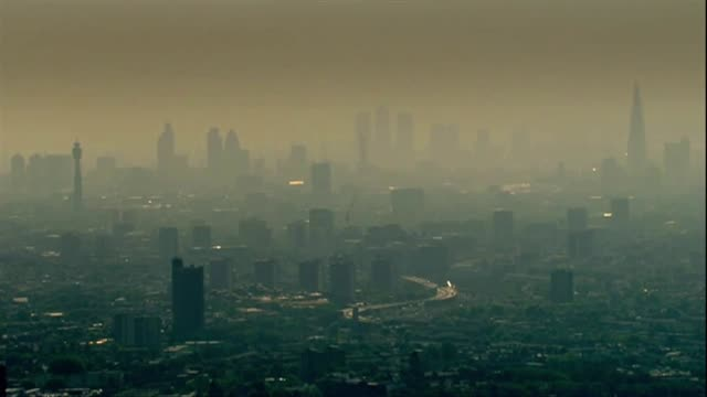 smog and air pollution over city of london - smog video stock e b–roll