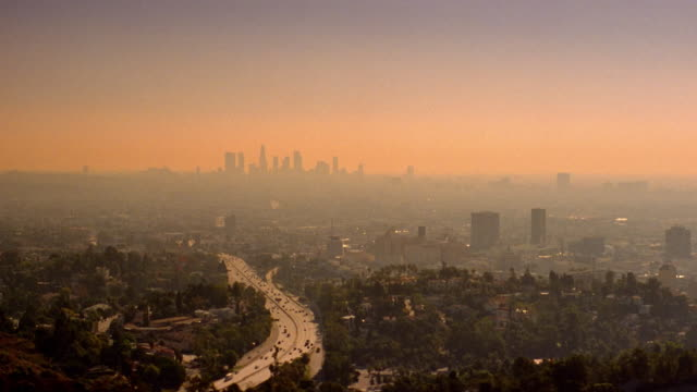 smog covers the los angeles skyline. - smog stock videos & royalty-free footage