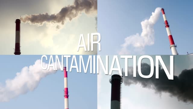 Smog pollution smoke. industry background split screen text