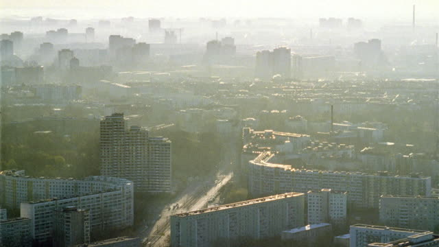 AERIAL Smoggy cityscape/ Berlin, Germany