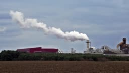 Smoke air pollution from factory chimney