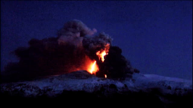 Smoke and ash erupting from Eyjafjallajokull volcano