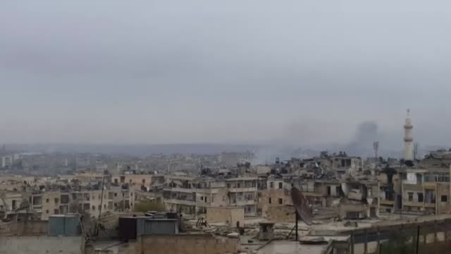 smoke arises on december 14, 2016 after thousands of shia militiamen under the command of the iranian general seyyid jevat have launched an attack on... - russia stock videos & royalty-free footage
