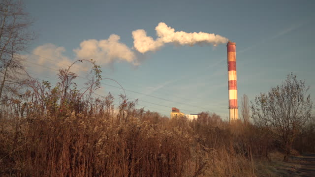 smoke billowing from chimney at mine in katowice poland - schornstein konstruktion stock-videos und b-roll-filmmaterial