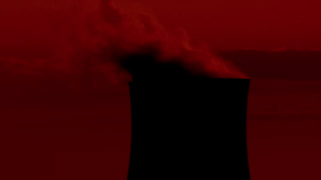 ms pan smoke billowing from power station cooling tower at sunset / dicot, oxfordshire, england - cooling tower stock videos & royalty-free footage