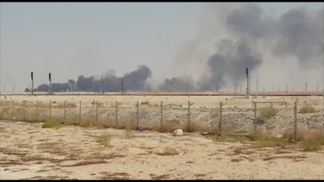 smoke billows following drone attacks at two saudi aramco oil facilities in the latest assault on the state owned energy giant as it prepares for a... - saudi arabia stock videos & royalty-free footage
