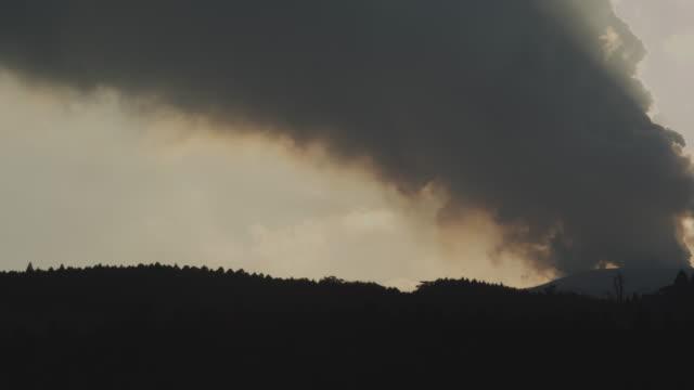 Smoke billows from top of volcano, Kirishima, Japan, February 2011