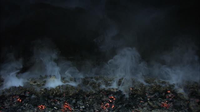 smoke billows up from burning embers. - burning coal stock videos & royalty-free footage