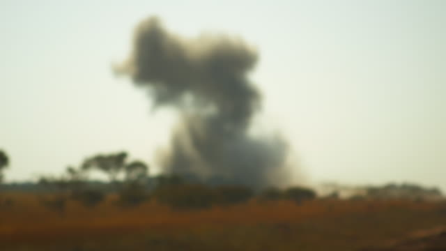 Smoke clouds from bomb explosion in Angola