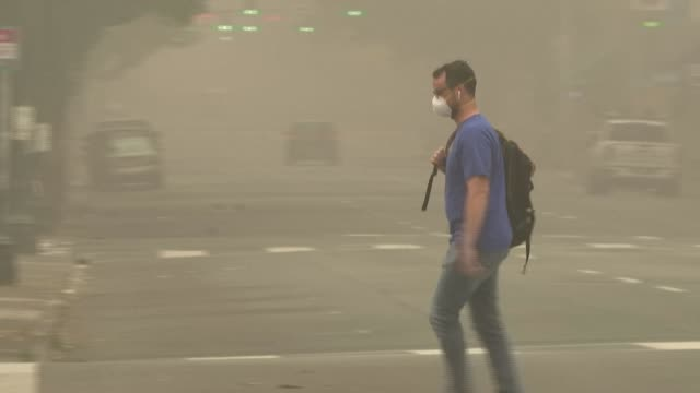 smoke fills the streets of downtown portland as wildfires continue to ravage the west coast of north america, razing towns and forcing evacuations... - übersichtsreport stock-videos und b-roll-filmmaterial