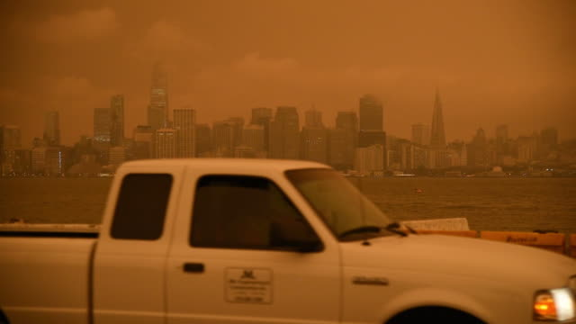 smoke from california wildfires hangs over the skyline of san francisco california usa on wednesday september 9th 2020 - san francisco california stock videos & royalty-free footage