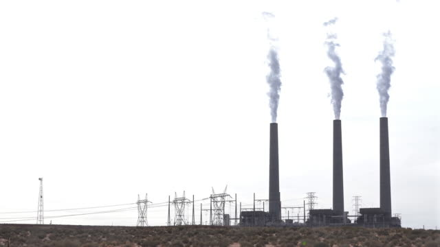smoke from chimney tower of thermal coal power plant in page arizona usa - page arizona stock videos and b-roll footage