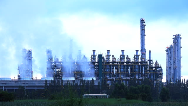 Smoke from Industry generator at Oil Refinery Plant