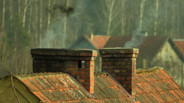 smoke from the chimney - smog video stock e b–roll