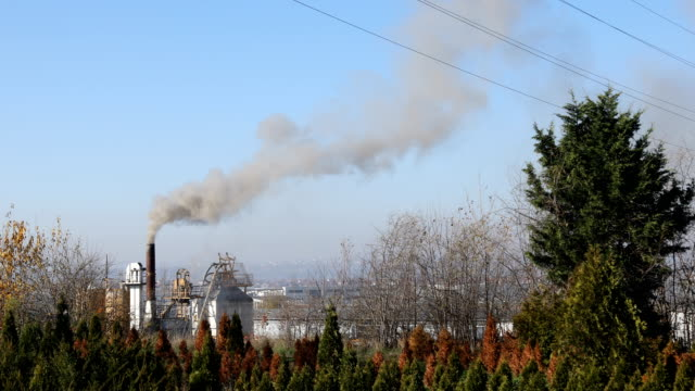 smoke fumes from industrial chimney - serbia stock videos & royalty-free footage
