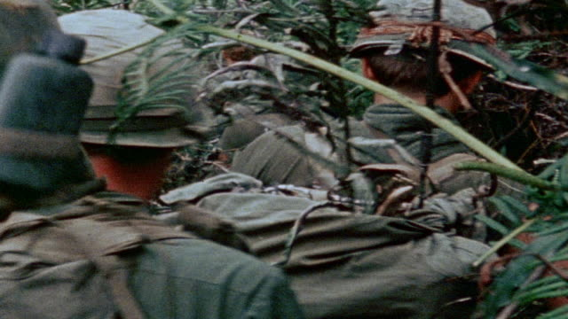smoke grenades exploding on hilltop, 327th infantry regiment platoon hiking through tall jungle grass / vietnam - 1971年点の映像素材/bロール