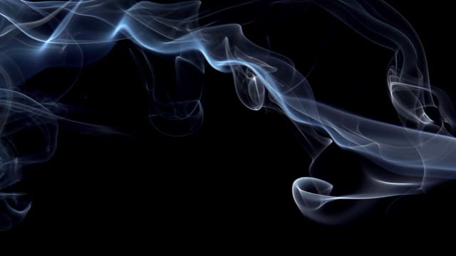 vídeos de stock, filmes e b-roll de smoke of cigarette rising against black background, slow motion - fumaça