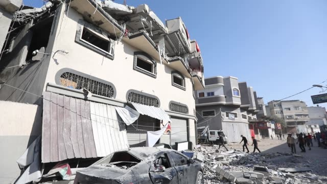 smoke rises following an explosion in gaza november 12 2019 israel's military killed a commander of palestinian militant group islamic jihad in a... - israel palestine conflict stock videos and b-roll footage