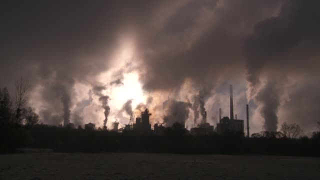 Smoke rises from a pulp factory at sunrise.