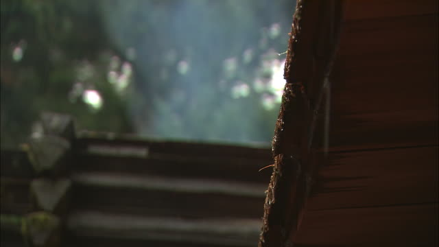 smoke rises from a wet roof at fort clatsop in oregon. - 西方拡大点の映像素材/bロール