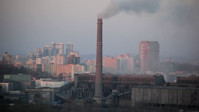 Smoke rises from chimneys at the coal fired power plant in the city of Pyongyang, North Korea.