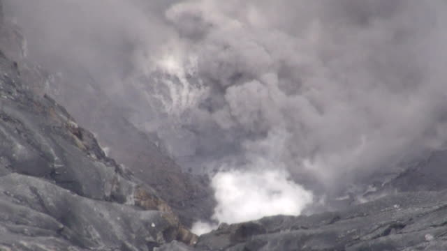 smoke rises from mount aso in kumamoto prefecture on april 16 japan a small eruption occurred at mount aso in southern japan on saturday around 830... - erupting stock videos & royalty-free footage