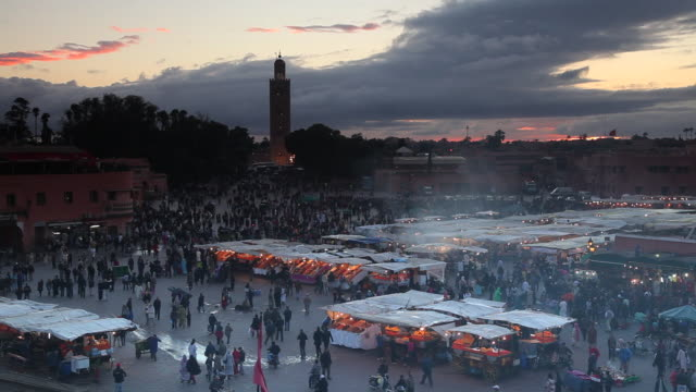 Smoke rises from the market stalls at the Jamaa el-Fna.