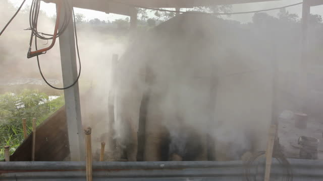 Smoke rising from the clay oven.