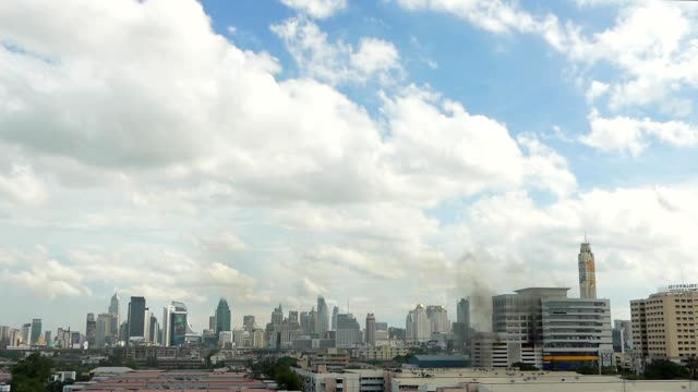 Smoke seen over Bangkok resulting from fire extinguishing training
