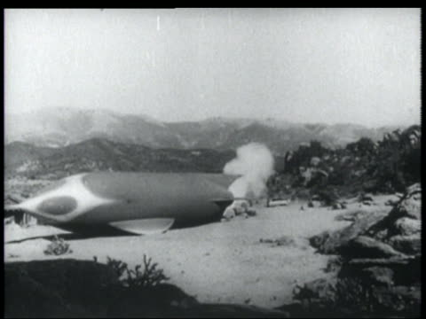 b/w 1952 smoke shooting out rear end of spaceship on ground - 1952 stock videos & royalty-free footage
