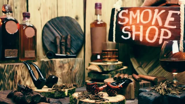 Smoke shop showcase with moving light