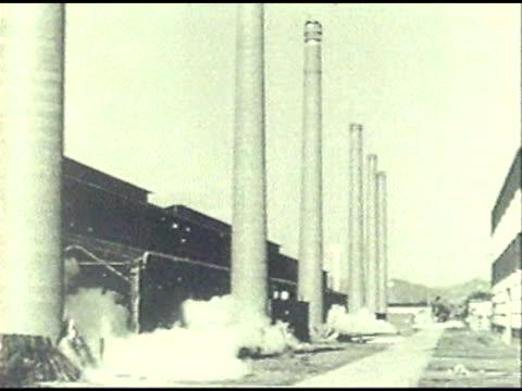 smoke stack demolition - smoke stack stock videos & royalty-free footage