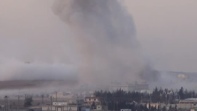 smoke trails over after the alnusra front stages a suicide bomb attack in nubul and zahra villages aleppo syria on november 292014 - militant groups stock videos & royalty-free footage
